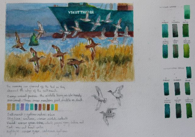 Salt marsh sketch - Teal flying past the Vecht Trader