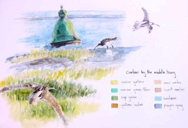 Salt marsh sketch - curlew by middle buoy near Portbury Dock