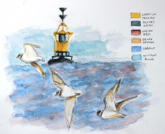 Salt marsh sketch - ringed plover crossing Denny Shoal Buoy