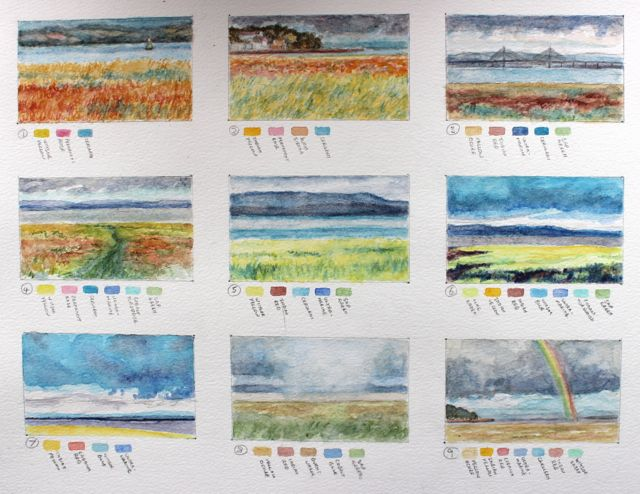 Salt marsh sketch - vivid colours of summer