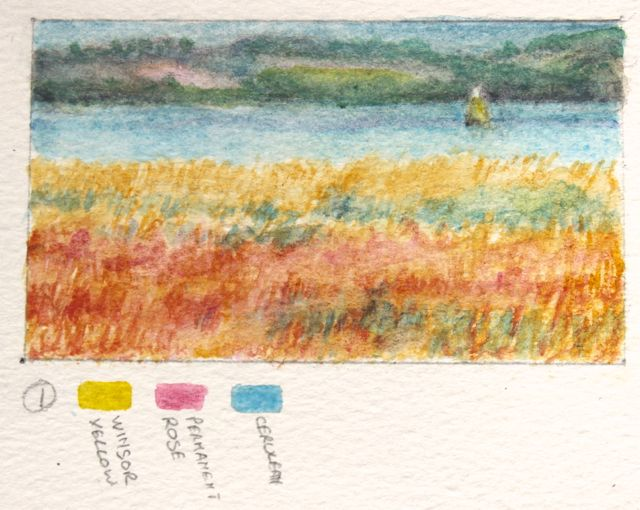 Salt marsh sketch - the marsh was bathed in reds and yellows
