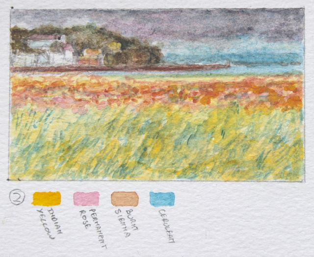 Salt marsh sketch - towards Portishead Pier and Eastwood