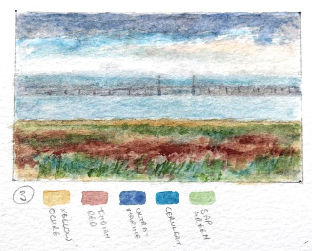 Salt marsh sketch - towards the Severn Bridge
