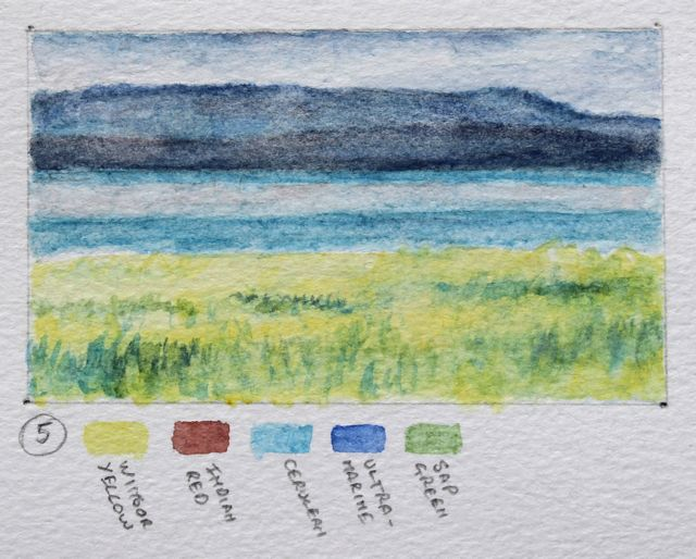 Salt marsh sketch - mainly blues and yellows