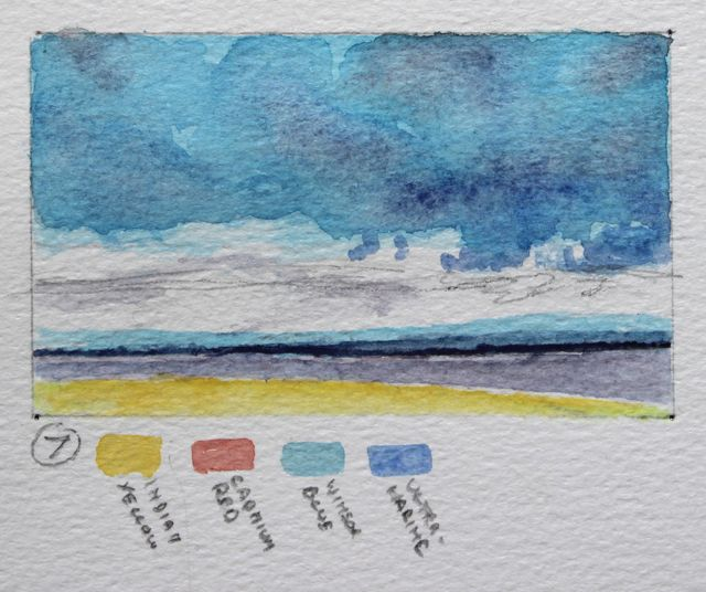 Salt marsh sketch - clouds of winsor blue and ultramarine