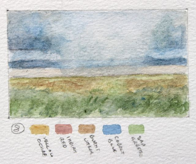 Salt marsh sketch - squall in channel