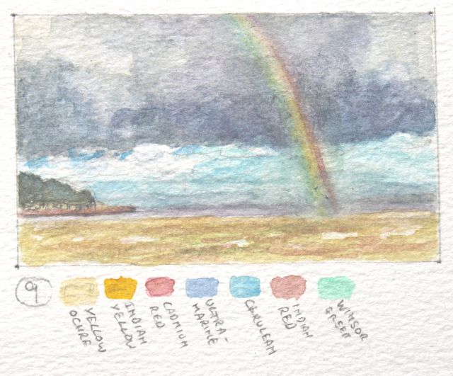 Salt marsh sketch - rainbow over Portishead Pier