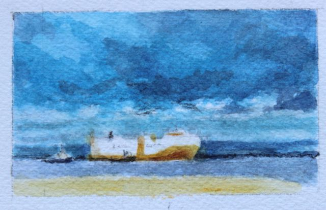 Salt marsh sketch - a closer view of the Grande Sicilia passing Portishead Pier