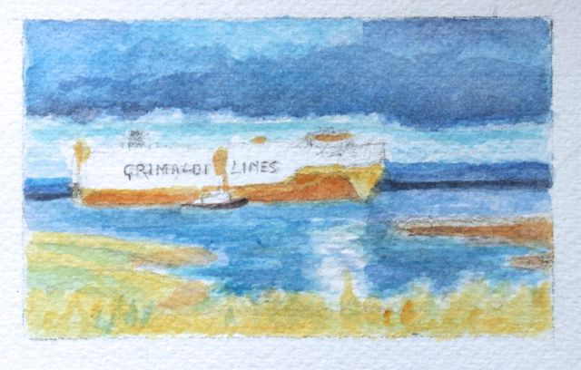 Salt marsh sketch - a closer view of the Grande Sicilia passing Chapel Pill