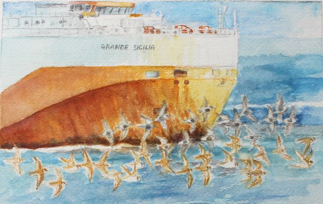 Salt marsh sketch - Grande Sicilia passing Chapel Pill with ringed plover and dunlin