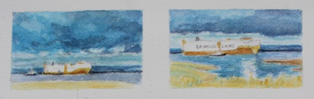 Salt marsh sketch - the Grande Sicilia heading for Portbury Docks