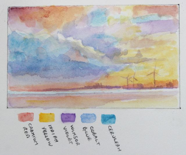 Salt marsh sketch - Sunrise over Avonmouth