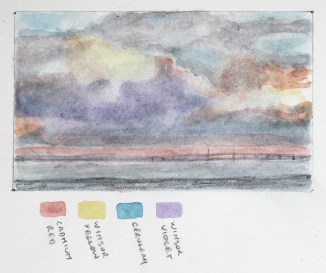 Salt marsh sketch - Sunrise over the Severn Bridge
